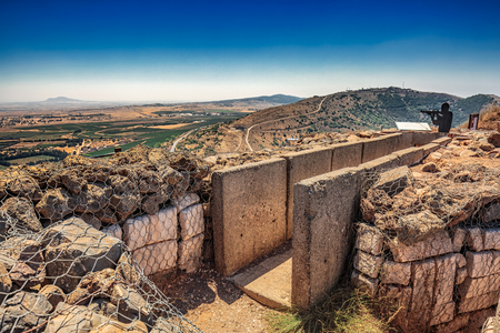 View over trench from Israel upon Syria. Stock Photo