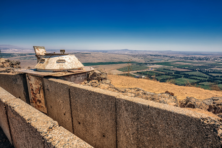 View over trench from Israel upon Syria. Reklamní fotografie - 77086972
