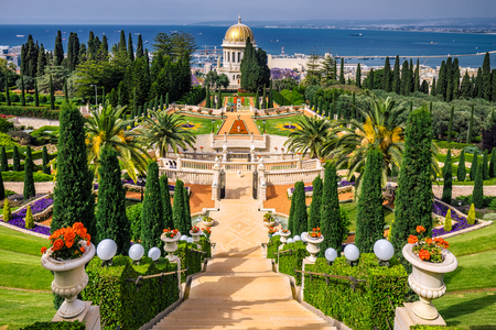 Bahai gardens and temple on the slopes of the Carmel Mountain and view of the Mediterranean Sea and bay of Haifa city, Israel Stok Fotoğraf - 77278138