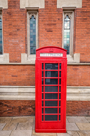 shakespearean: Red phone booth at Shakespeare birthplace, Stratford-upon-avon, UK. Stock Photo
