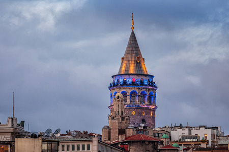Galata tower shot at blue hour, Istanbul, Turkey.