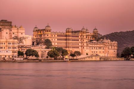 Long exposure lake Pichola and Taj Lake Palace , Udaipur, Rajasthan, India, Asia. Stock Photo