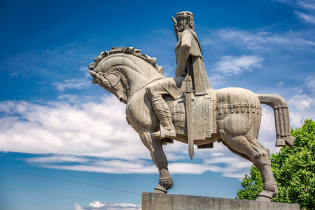Statue of king Vakhtang Gorgasali in Tbilisi, Georgia. Stock Photo