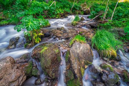 Natural famous landmark Gveleti big waterfalls in the Darial gorge in Kazbegi, Georgia. Stock Photo