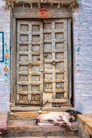 Jaisalmer india antique door at fort in jaisalmer rajasthan india. Stock Photo