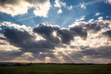 Rays of light with cloudy sky at Israel.