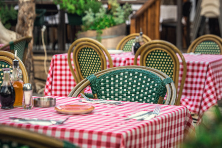 Itailan style restaurant with square tablecloths at Tel Aviv, Israel. Stock fotó - 83478981
