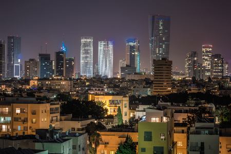 Tel Aviv financial district skyscrapers shot at night, Israel.