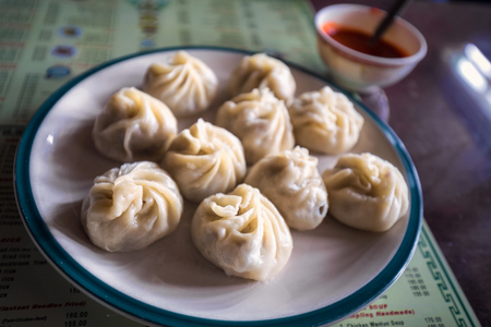 Traditional tibetian food is momo with vegetables  Darjeeling, India. Stock Photo