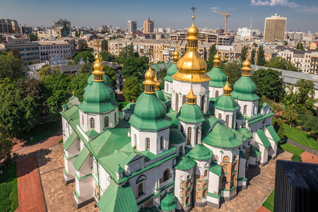 arial view: Arial view at Saint Sophias Cathedral Kiev, Ukraine.