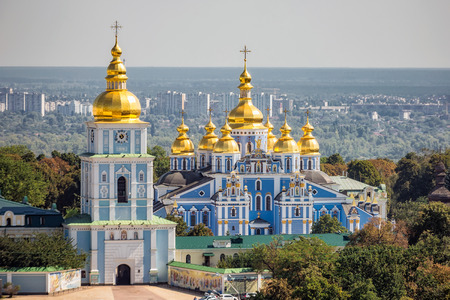Reconstructed St. Michaels Golden-Domed Monastery at Kiev, Ukraine. Stok Fotoğraf