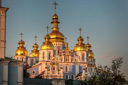 Reconstructed St. Michaels Golden-Domed Monastery shot at sunset Kiev, Ukraine.