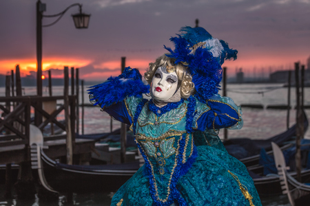 Venice Carnival 2018. Decorated mask in Piazza San Marco, Venice, Italy.