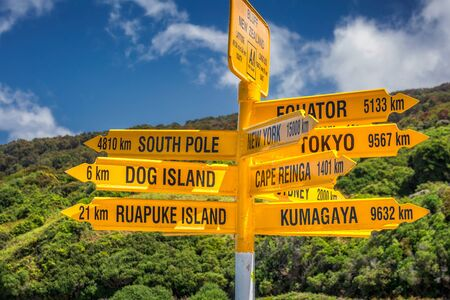 The worlds southernmost signpost in Bluff, South Island, New Zealand. Global signpost shows world distances measured from Bluff, tourist destination.