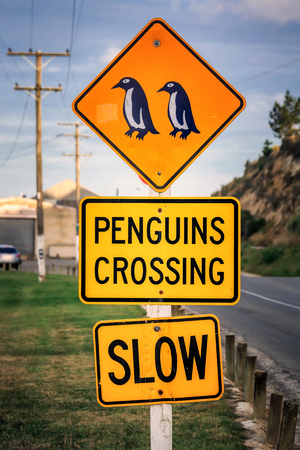 Penguin crossing sign at Oamaru in the South Island of New Zealand. Omaru is home to the blue penguin.