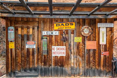 Moab, Utah, USA - January 20, 2018: Old signs.