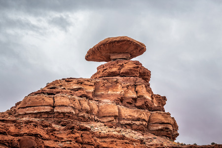 Mexican Hat rock formation in Utah, a balanced rock located in Southern Utah