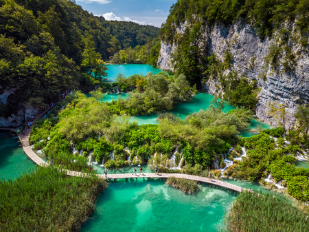 Several waterfalls of one of the most astonishing Plitvice Lakes, Croatia. A truly virgin and wonderful piece of nature. Stock Photo