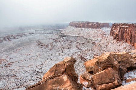 A beautiful winter day in winter after heavy snow, Canyonlands National Park, Utah, USA Stock Photo
