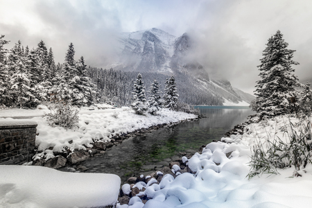 Lake Louise under heavy snow at Banff National Park, Canada. Stock Photo