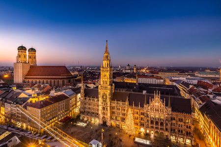 Marienplatz town hall and Frauenkirche at night in Munich, Germany.