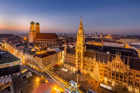 Marienplatz town hall and Frauenkirche at night in Munich, Germany.