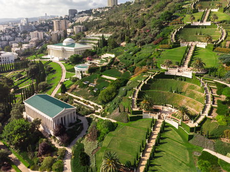 Beautiful view of the Bahai gardens with a birds eye view
