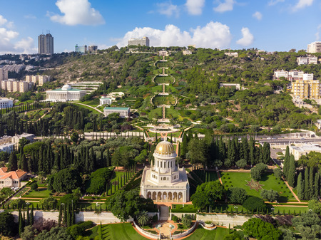 Beautiful panorama of the Bahai gardens with a birds eye view Stok Fotoğraf