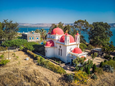 Capernaum church shot with drone from high point at Tiberias, Israel.