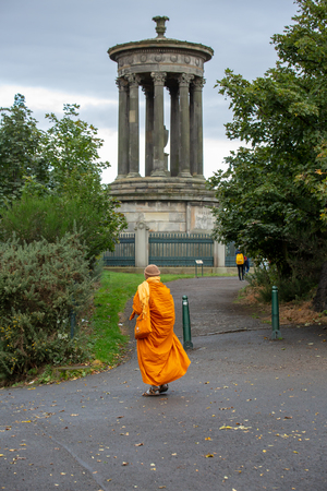 Monk looks at the greek monument, Edinburgh - Scotland Reklamní fotografie