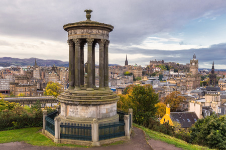 Edinburgh cityscape view from the Calton Hill Stock Photo