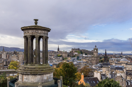 Scotland,Edinburgh cityscape view from the Calton Hill, with Edinburgh castle in the