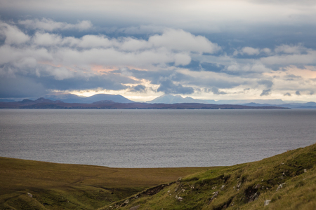 Beautiful autumn panoramic landscape in Scotland, wet weather outside Stock fotó