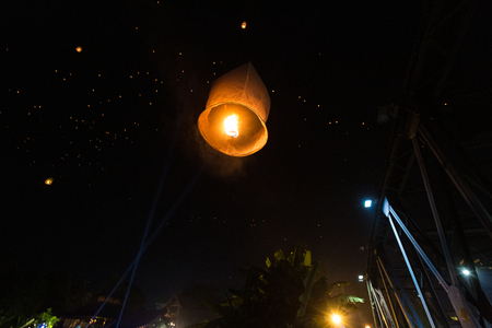 Loy Krathong festival in Chiangmai. Floating hot air balloons made of paper.