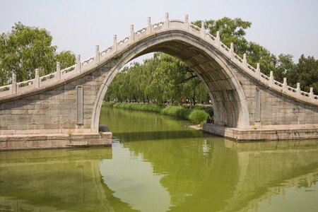A Moon Gate Bridge - highly-rounded arched pedestrian bridge. The high arch and its reflection form a circle, symbolizing the moon.