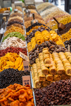 Various dried fruits on the Mahane Yehuda Market in Jerusalem.