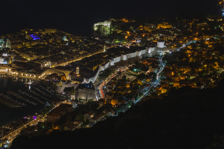 Night view from above upon old streets of Dubrovnik, Croatia.