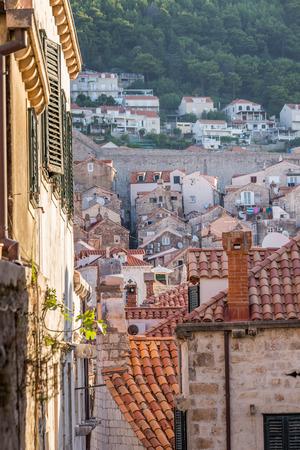 Sunrise at old streets of Dubrovnik, Croatia.