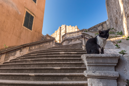 Stairs at old streets of Dubrovnik, Croatia. Banco de Imagens