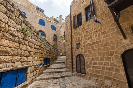 The ancient and atmospheric sandy-colored architecture in the old city of Jaffa in Israel fascinates on every street
