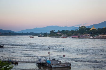 Chiang Rai, Thailand - November 14, 2017: Golden triangle is border point of Thailand, Laos and Myanmar clear weather outside
