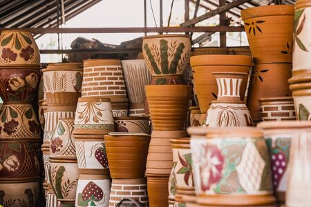 Chiang Mai, Thailand - November 03, 2017: Handmade and creative jugs at the marketplace