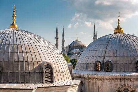View from the window of Hagia Sophia upon The Blue Mosque at Istanbul, Turkey. Stock Photo