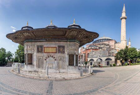 Fountain of Ahmed III near Hagia Sophia at Istanbul Turkey.