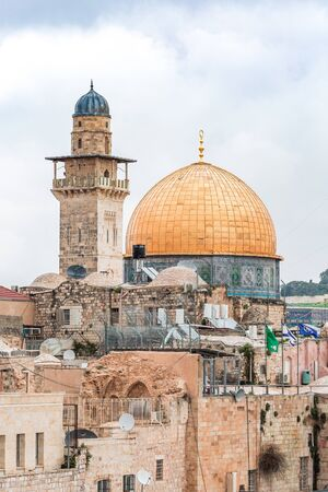 View of Mousque of Al-aqsa, Dome of the Rock, in Old Town - Jerusalem, Israel Stock Photo