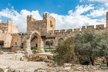 The Jaffa Gate in Old City of Jerusalem, Israel with clouds on background Stock Photo