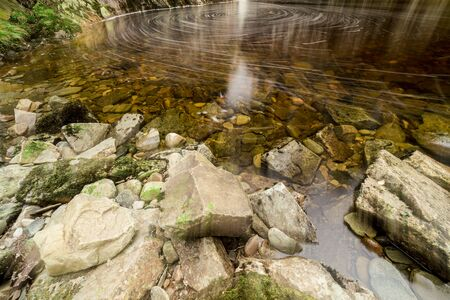 Forest in Scotland. View of a small forest river that flows down a steep slope and flows into a small pond. There are rocky shores around the pond. Autumn day.