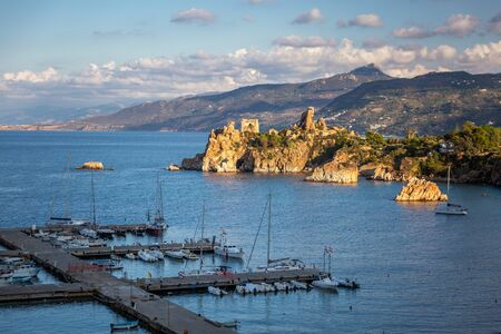Attractive evening cityscape of Cefalu town. Amazing sunset on Mediterranean sea at Catania Sicily, Italy. Stock Photo - 130114564