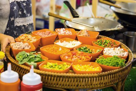Fresh vegetable salads sold in Bangkok, Thailand. Street food.