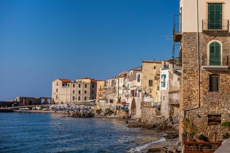 Attractive evening cityscape of Cefalu town. Amazing sunset on Mediterranean sea at Catania Sicily, Italy. Stock Photo - 130114617